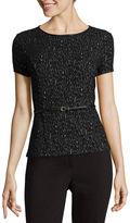 Liz Claiborne Short-Sleeve Chevron Belted Knit Top