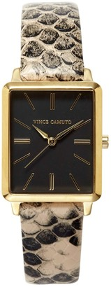 Vince Camuto Snake-print-band Square Watch