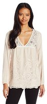 Jolt Women's Lace Boho Long Sleeve Top