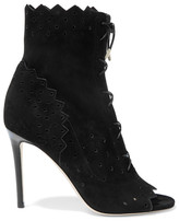 Jimmy Choo Dei Perforated Suede Peep-toe Ankle Boots - Black