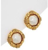 Chanel Gold-tone Pearl Round Earrings.
