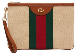 Gucci GG Web-stripe Canvas Pouch - Cream Multi