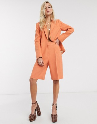 Topshop belted city short two-piece in apricot