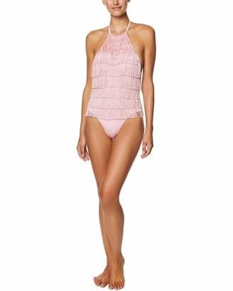 AVEC LES FILLES Women's Full Fringe Highneck ONE Piece Bodysuit/Swimsuit