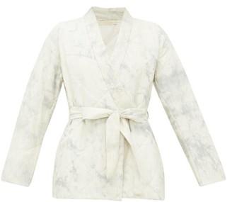 Mes Demoiselles Cumulus Quilted Cotton Wrap Jacket - Blue White