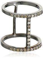 Azaara Sterling Silver Asymetrique Pave Champagne Diamond Ring (1/2cttw, I2-I3 Clarity), Size 7