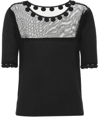 Oscar de la Renta Wool and silk-blend top