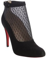 Christian Louboutin black suede trimmed mesh 'Resillissima 100' ankle boots