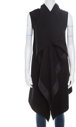 Rick Owens Black Wool Cross Embellished Sleeveless Waterfall Jacket S