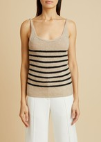 KHAITE The Betty Tank in Powder and Black Stripe