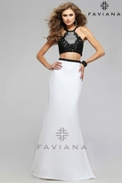 Faviana Modish Two-Piece Neoprene Dress with Mesh and Lace Appliques 7723