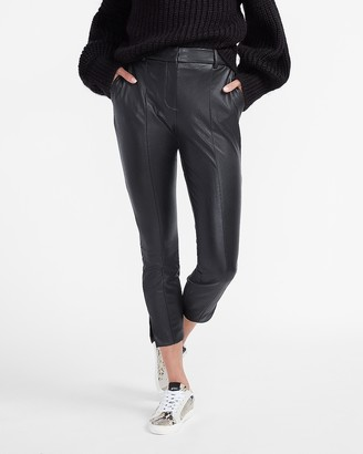 Express High Waisted Vegan Leather Slit Ankle Skinny Pant