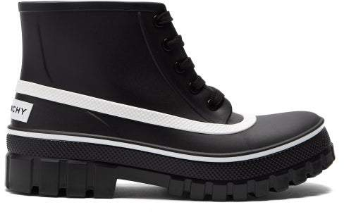 Givenchy Glaston Lace Up Rubber Rain Boots - Womens - Black