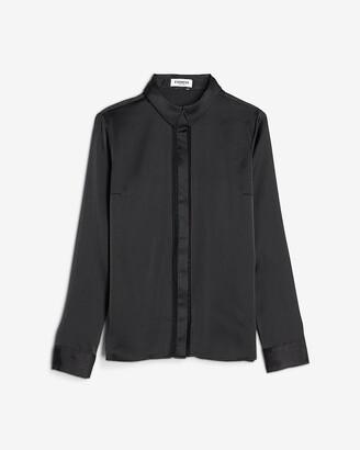 Express Satin Lace Trim Portofino Shirt
