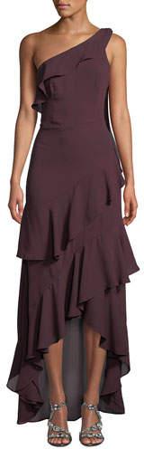 Parker Black Jordan One-Shoulder Georgette Gown w/ Ruffles