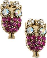 Betsey Johnson Antique Gold-Tone Owl Stud Earrings