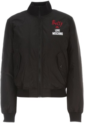 Love Moschino Logo Embroidered Bomber Jacket