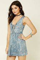 Forever 21 FOREVER 21+ Mineral Wash Lace-Up Dress