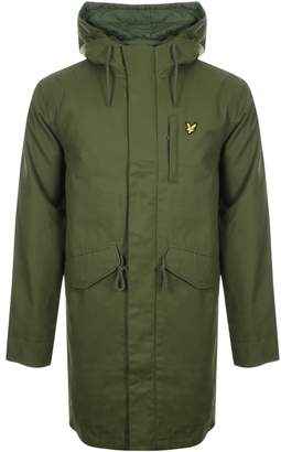 Lyle & Scott Full Zip Wax Parka Jacket Green