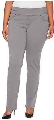 Jag Jeans Plus Size Peri Pull-On Straight Leg Pants in Bay Twill (Stone) Women's Clothing