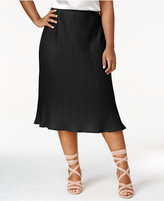 NY Collection Plus Size Pleated Midi Skirt