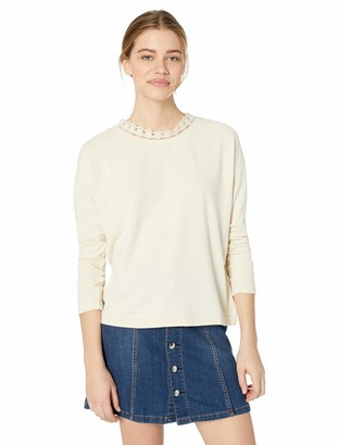Jack by BB Dakota Junior's Take Knit top with lace Trim and Cross Back