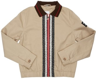 Burberry Logo Print Cotton Bomber Jacket