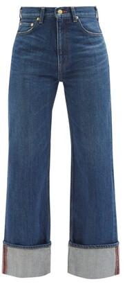 Tu es mon Trésor Carnelian High-rise Turn-up Cuff Jeans - Dark Denim