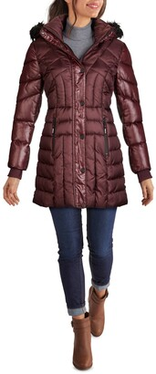 GUESS Faux Fur Trim Hooded Puffer Coat