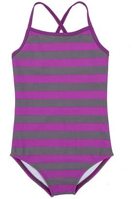 Leveret Girls' One Piece Swimsuits Purple/Grey - Purple & Gray Stripe One-Piece - Toddler & Girls