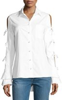 Jonathan Simkhai Pearly-Button Tie-Sleeve Oxford Shirt, White