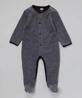 Kushies Black Stripe Velour Footie - Infant