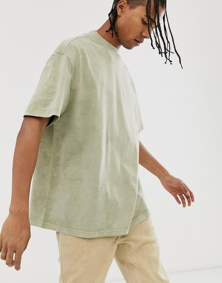 Weekday Great t-shirt with in light khaki tie dye-Green