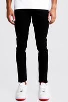 boohoo Mens Skinny Fit Denim Jeans in Black, Black