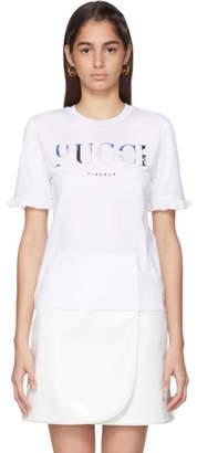 Emilio Pucci White Logo Ruffle Sleeve T-Shirt