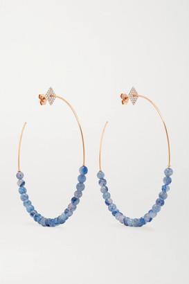 Diane Kordas 18-karat Rose Gold, Aventurine And Diamond Hoop Earrings