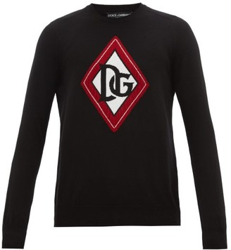 Dolce & Gabbana Monogram-intarsia Cashmere Sweater - Black