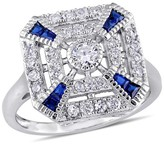 .56 CT. T.W. Blue Spinel and 3.08 CT. T.W. Cubic Zirconia Vintage Square Ring in Sterling Silver
