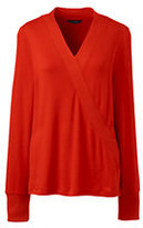 Classic Women's Petite Ribbed Crossover-Red Orange