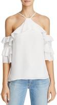 Parker Natalia Silk Cold-Shoulder Top