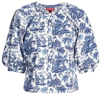 STAUD Dill Tropical Print Blouse