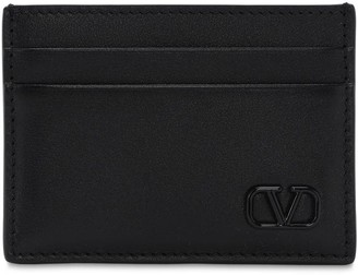 Valentino Metal Logo & Leather Card Holder