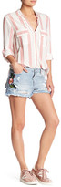 Fire Distressed Stud Embroidered Patch Denim Short