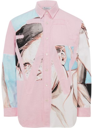 J.W.Anderson panelled Anchor applique shirt