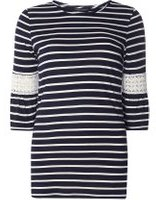 Dorothy Perkins Womens Navy Striped Flutter Sleeve Top- Blue