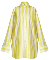 Marques Almeida MARQUES'ALMEIDA Raw-hem striped cotton-poplin shirtdress