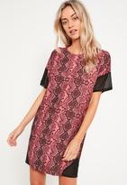 Missguided Pink Mesh Diagonal Panel T Shirt Dress