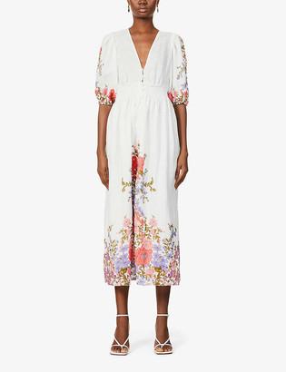 Zimmermann Floral-print linen midi dress