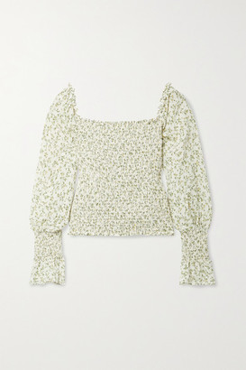 Reformation Heaven Off-the-shoulder Smocked Floral-print Crepe Blouse - White