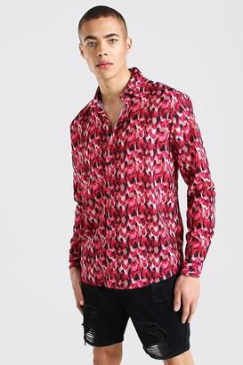 boohoo Mens Pink Long Sleeve Abstract Print Shirt, Pink